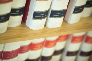 Law books on the shelf
