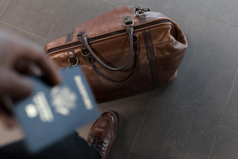 person holding their passport